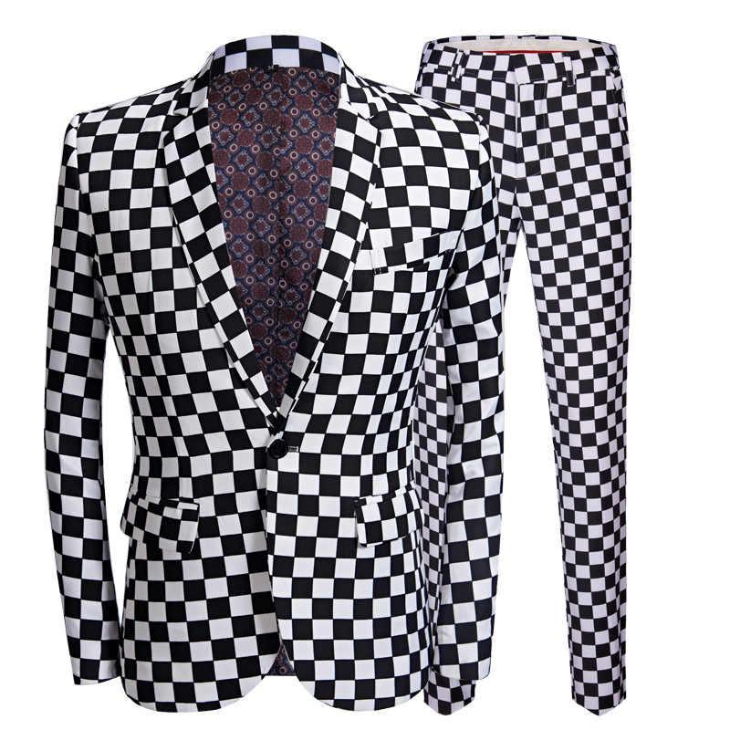 PYJTRL ファッションスーツの男性黒白のチェック柄プリント 2 枚セット最新コートパンツデザインのウェディングステージ歌手スリムフィット衣装