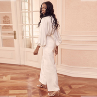 Babatique 2019 Fashion Women Rompers White Jumpsuit Sexy V Neck Long Sleeve Bodycon Ladies Jumpsuits Summer Party Suit Wholesale