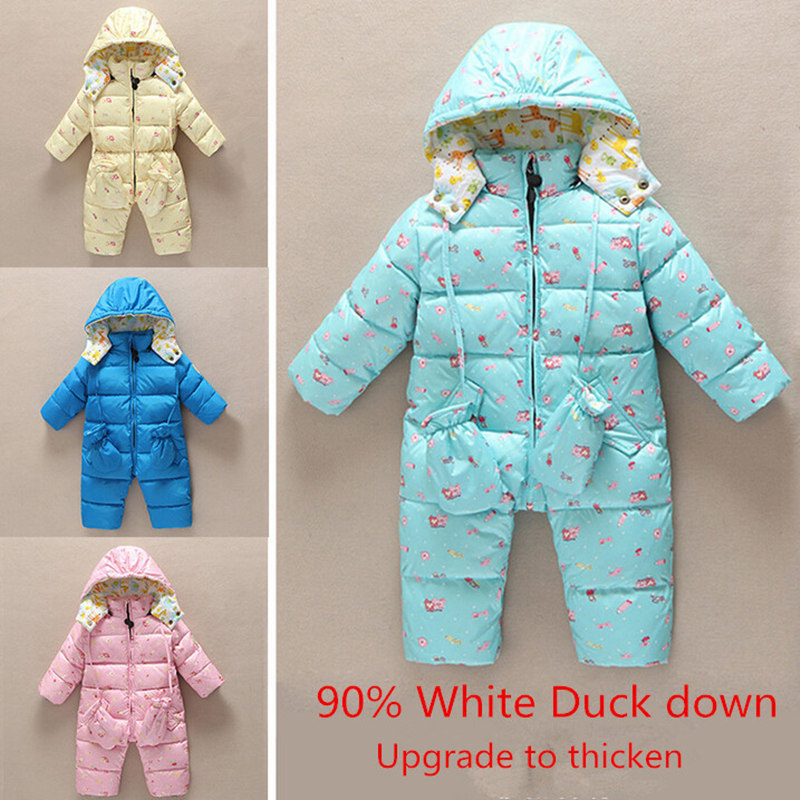 baby clothes Rompers Infant Boy Girl Warm thicken Jumpsuits White duck down Overalls outwears Winter snow