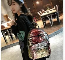 Sequins Backpacks Women PU  Shine Backpack Glitter Large Girls Travel Shoulder Bags Fashion Black White School Bag female