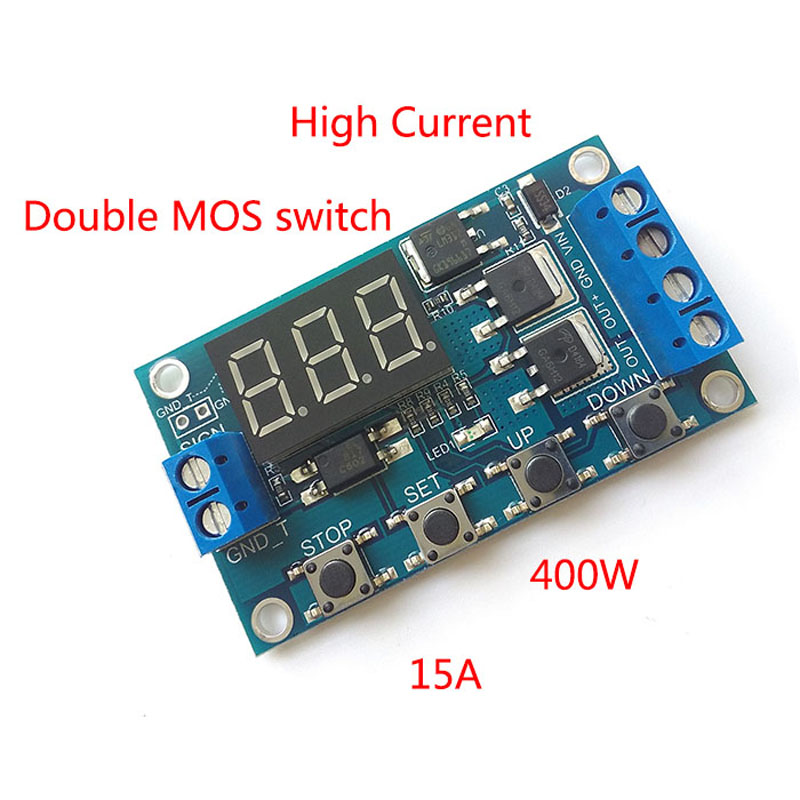 Trigger Cycle Timing  Delay Switch Circuit  Double MOS Tube Control Board Instead Of The Relay Module  12V 24V 12v timing delay relay module cycle timer digital led dual display 0 999 hours