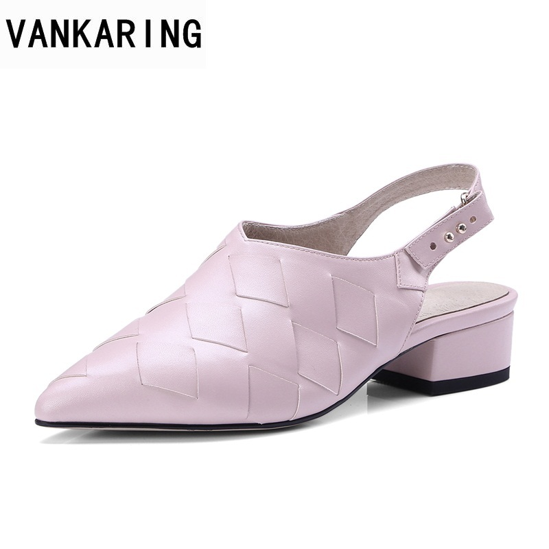 VANKARING genuine leather spring summer women sandals square high footwear fashion casual high heels intersecting lattices shoes