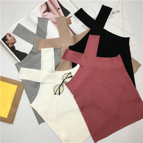 Super Sexy Knitted T Shirt Women Crop Top Halter Off Shoulder Short Camisole Camis Camiseta Tirantes Mujer Debardeur Femme