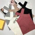 Супер секси трикотажные t shirt женщины crop топ холтер с плеча короткие бретели майки camiseta mujer tirantes debardeur femme