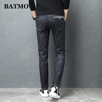 Batmo 2019 new arrival high quality casual slim elastic black jeans men ,men's pencil pants ,skinny Scratched jeans men 1038