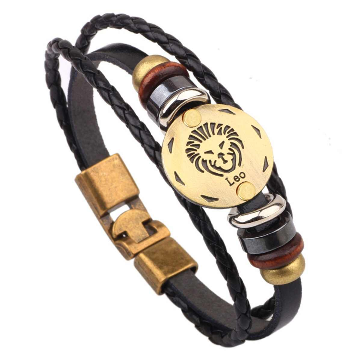 MJARTORIA 12 Constellations Bracelet Bronze Alloy Buckles Punk Leather Zodiac Bracelet Wooden Bead Black Gallstone Charm Jewelry