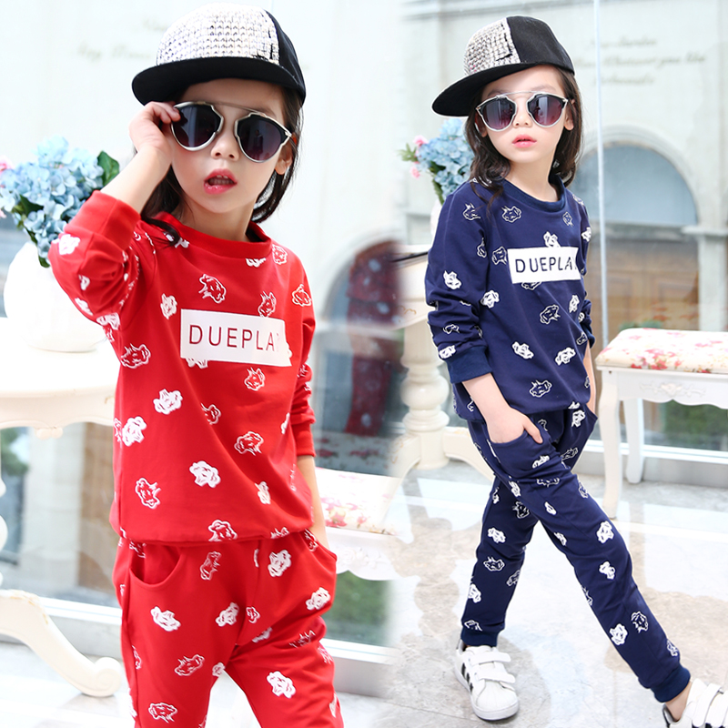 Children's clothing female child spring 2016 child sports sweatshirt set kids clothes child spring and autumn twinset стоимость