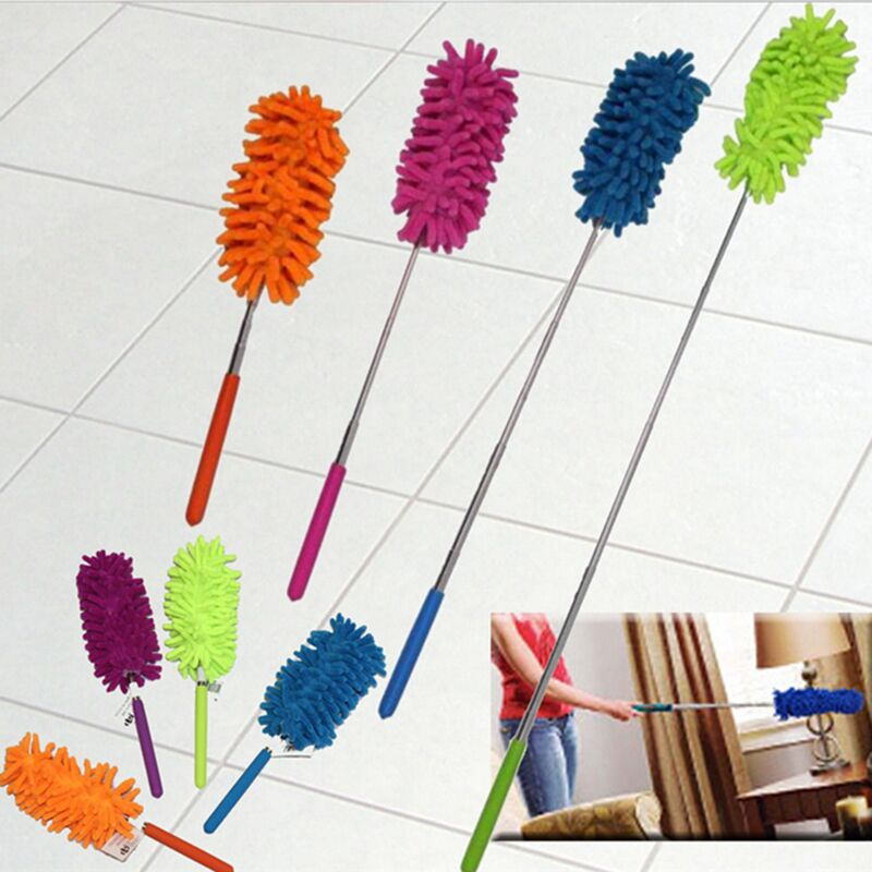 Creative Stretch Extend Microfiber Dust Shan Adjustable Feather Duster Household Dusting Brush Cars Cleaning Random Color