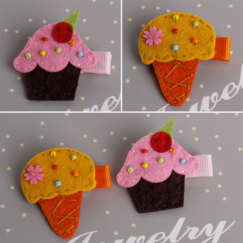 Colorful Ice Cream Cake Flower Hair Clips Red Hairband Happy New Year Hairpin Hand Made Rim Hair Accessories Hair Bows