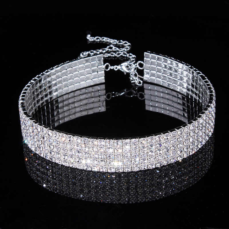 New Designed Luxury Jewelry For Women Bridal Wedding Party Prom Stretch Rhinestone Crystal Choker Necklace Elastic Cord Elegant