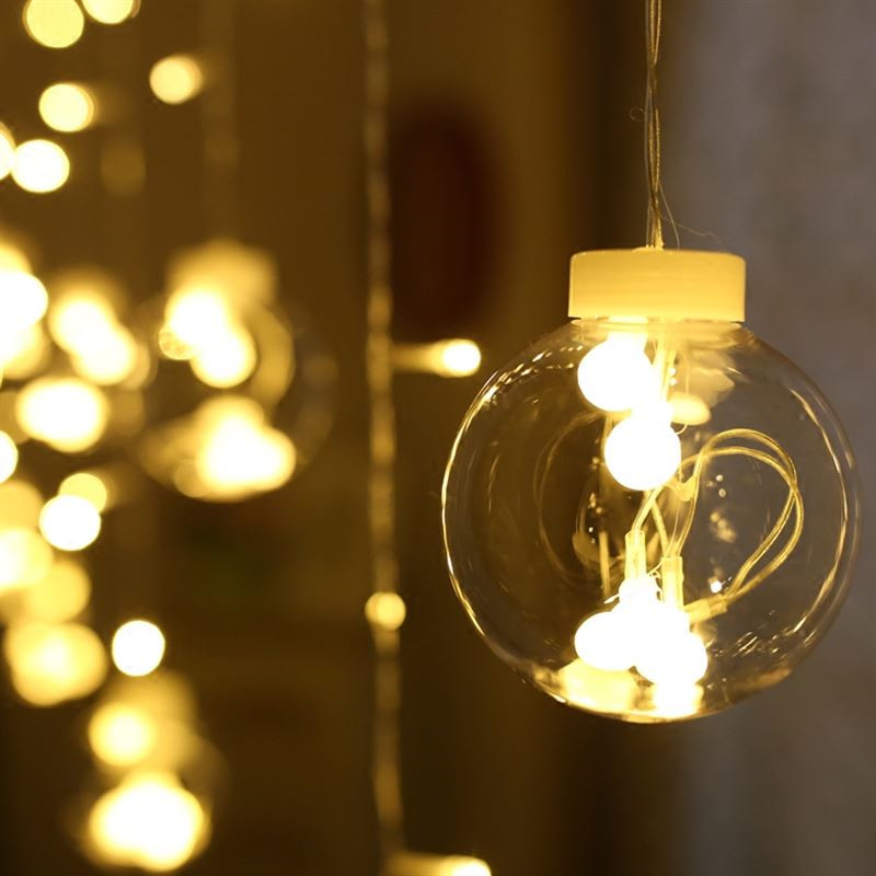 Transparent globes ball colorful led string lights curtain - Indoor string light decoration ideas ...