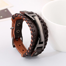 Men's Punk Style Knitted Faux Leather Bangle Handmade Adjustable Cuff Bracelet