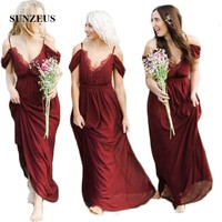 Бордовые шифоновые длинные свадебные платья, сексуальные v образный вырез, а силуэт, на бретельках, винтажные вечерние платья, свадебное Вых