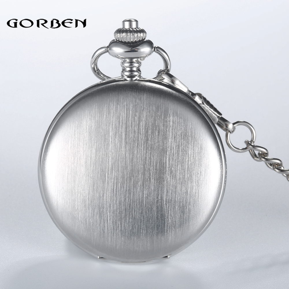 GORBEN Luxury Silver Full Steel Mens Womens Quartz Pocket Watch Roman Numbers With Pendant Necklace Chain Relogio De Bolso Gifts
