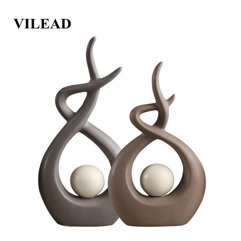 VILEAD 27.5cm 31cm Ceramic Abstract Small Figurines Creative Nordic Ornaments Bookshelf TV Cabinet Living Room Porch Decorations