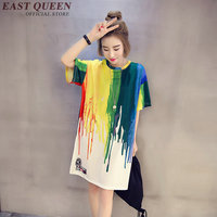 Harajuku 2017 new fashion shirt for teenager shirts for teens art deco t-shirt femme round neck colorful painting tees AA663 Q
