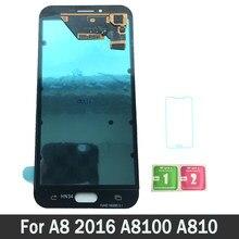 f26334d79a AMOLED Lcd Para Samsung Galaxy A8 2016 A8100 A810 Screen Display LCD de  Toque Digitador Assembléia 100% Testado Trabalho