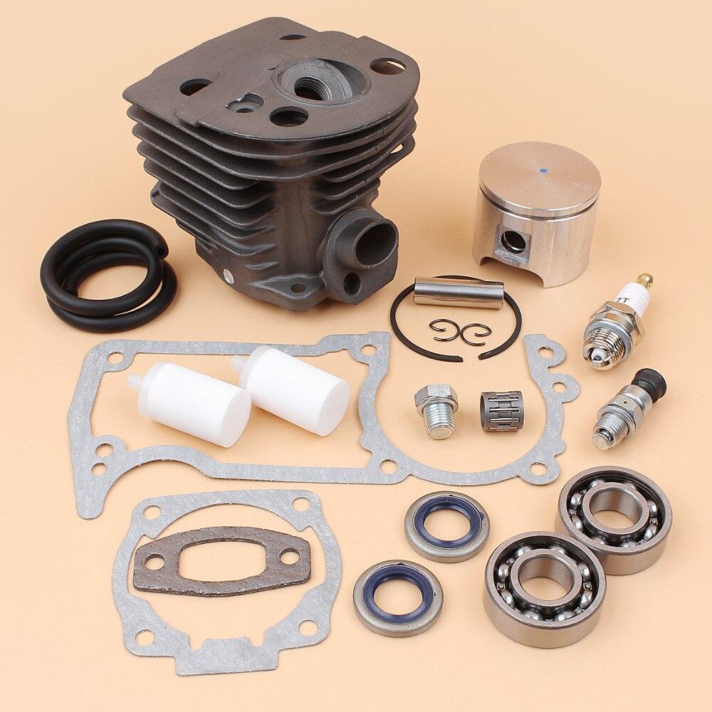 46mm Cylindre Piston Plug Roulement Joint D'huile Joint Tuyau De Carburant Filtre Pour HUSQVARNA 51 55 Rancher Tronçonneuse Moteur Moteur pièces