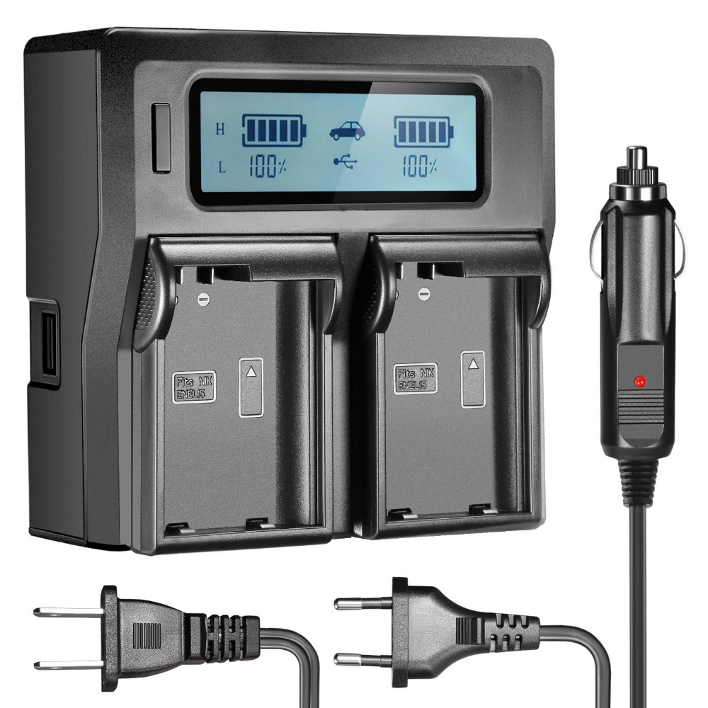 Neewer Dual LCD Battery Charger for EN-EL14/EN-EL15 Batteries For Nikon Camera (US Plug + EU Plug + Car Charger Adapter)