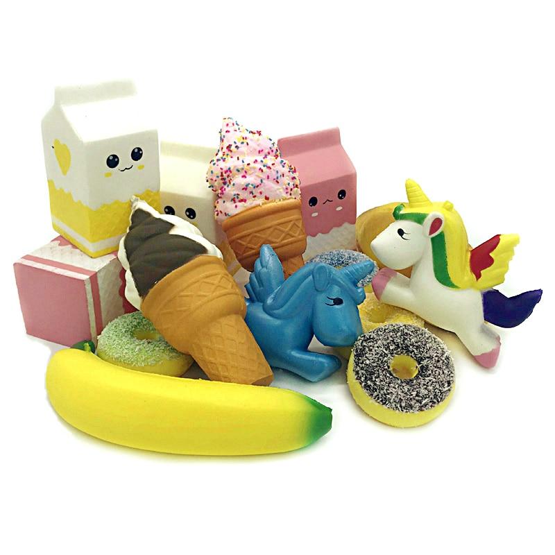 2018 Jumbo Squeeze Squishy Unicorn Slow Rising Antistrss Milk Cat Hamburger Squishy Toy Squishies Anti Stress Relief Kids Gift