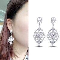 Large Earrings Vintage Designer Cubic Zirconia Long Earrings for Women Baroque boucle d'oreille Geometric shape Dangle earrings