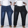 Male super large size elastic jeans fashion simple mid waist full length casual obese straight denim pants for men