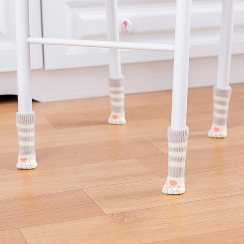 4pcs Knitting Cat Style Chair Leg Socks Home Furniture Leg Floor Protectors Non-slip Table Legs cover prevent cat scratching 2