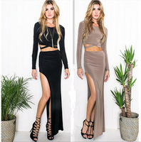 2015 New FashionSexy Women Dress Suit Autumn Midriff Baring Long Female High Split Skirt Women Skirt