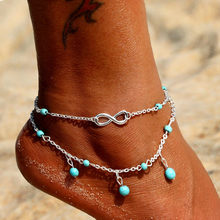 KINFOLK Vintage Antique Silver Color Pearl Anklet Women Big Blue Stone Beads Bohemian Ankle Bracelet Cheville Boho Foot Jewelry(China)