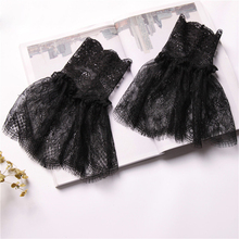 Fashion Women Lace Cotton sleeves decorated fake false cuffs temperament white Black Wrist Warmers four seasons accessories