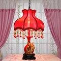 Горячие продажа Европейский свадебные украшения настольная лампа смолы Красные лепестки настольная лампа творческий дом декоративные СВЕТОДИОДНЫЕ лампы