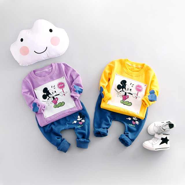 2016 new spring autumn baby suit boys girls 100% cotton clothing cartoon T-shirt + pants 2pcs sets children's free shipping