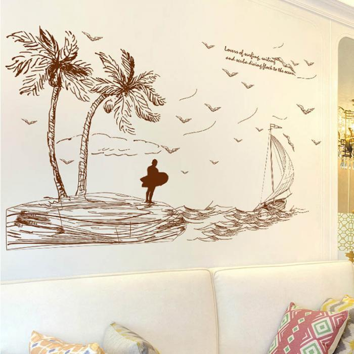 2017 Palm Island Scenery Sea Wave Ship Wall Sticker Art Decal Pvc - palm island home decor
