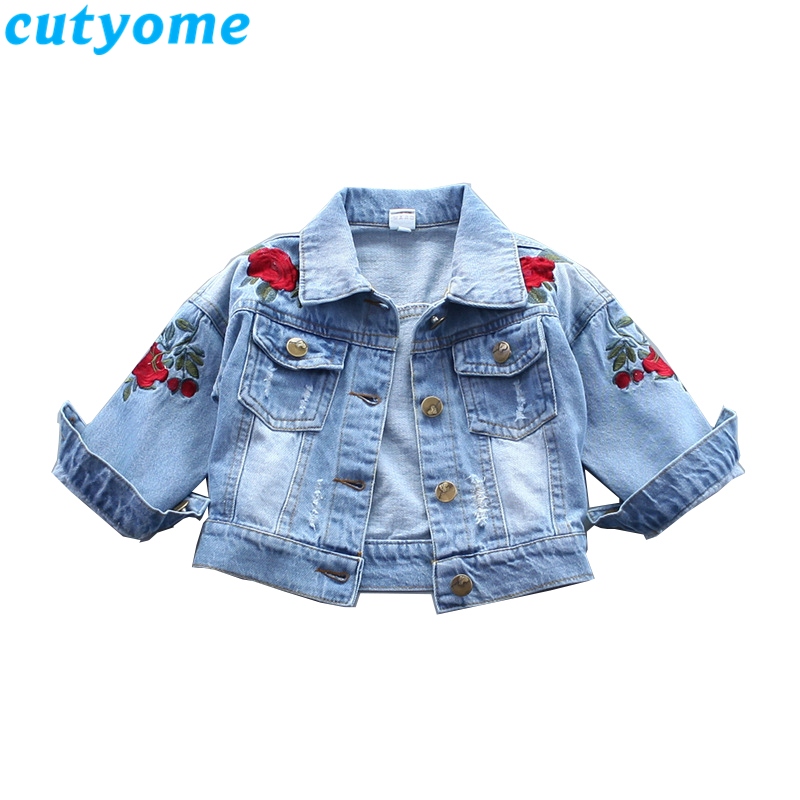 Cutyome көйлегіндегі балалар джинсы курткасы, қыздарға арналған сәнді раушан гүлдеріне кесте жасау бомбасы