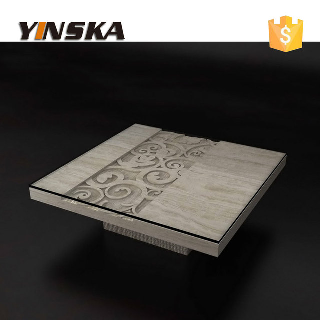 Bon Luxury Hand Carved Marble Coffee Table For Sale, White Travertine Square Center  Table