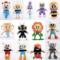 13 teile/los Spiel Cuphead Plüsch Spielzeug Mugman Frau Chalice geist Würfel Cagney Carnantion Puphead Plüsch Puppen Spielzeug für Kinder Geschenke
