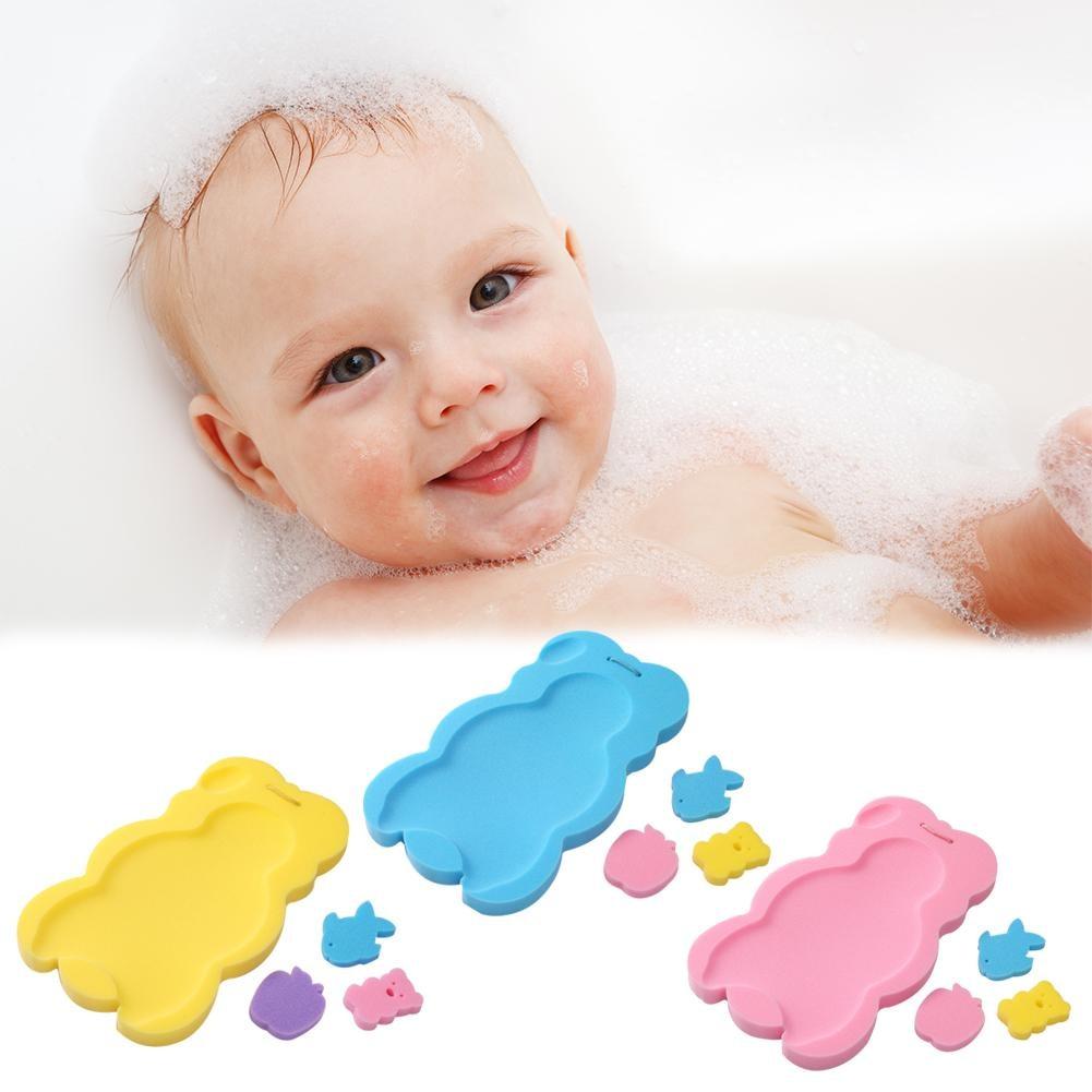 2018 New Baby Bath Holder Non-slip Bed Infant Shower Sponge Cushion Cartoon Bath Mat Newborn Baby Shower Nets Bath Pad 3 Colors