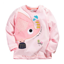 Spring Fall Baby Girls Tops Tees Cute Cartoon Children Clothes Cotton Long Sleeve Kids T-Shirt Next Clothing Style 1-6 years