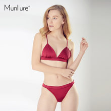 e509cc1bfc4a4 Munllure Sexy Chinese Red Ultra-Thin Underwear Women Soft Comfortable Silk Bra  Set Lingerie Brassiere For Ladies 2018 New Design