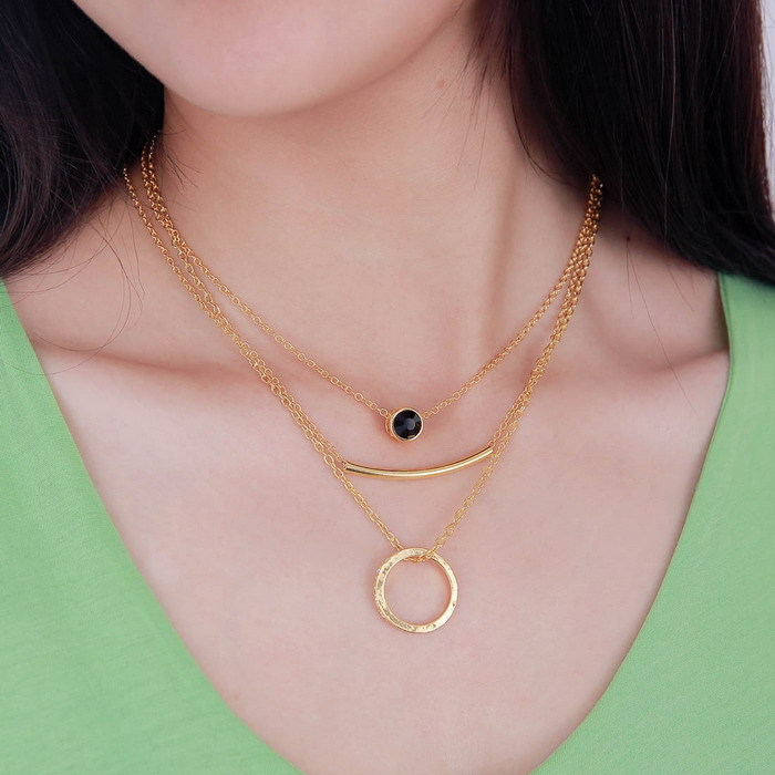 Fashion women simple gold choker Necklace Chain multilayer ...