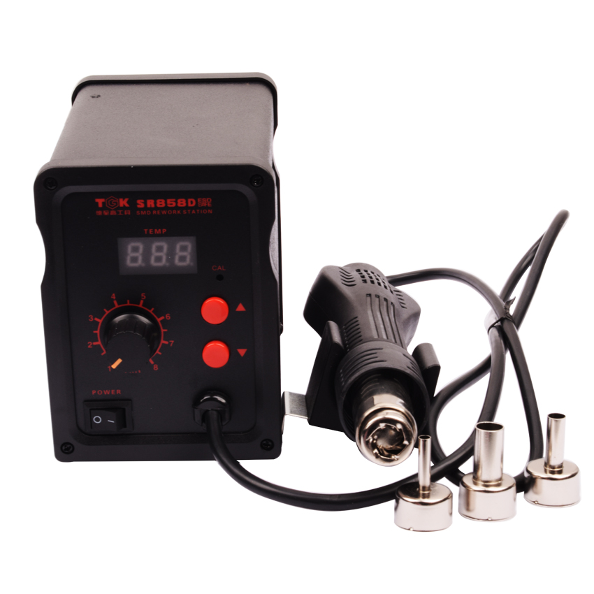 ФОТО 700W Hot Air Gun SR858D+ ESD Soldering Station Power Tools LED Digital Heat Gun Desoldering Station With 3 Air nozzle