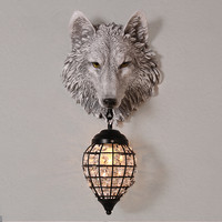 Classic LED Crystal Wall Lamp Fixture Grey Resin Wolf Wall Light Art Luminaire Sconce For Parlor Bedroom Corridor Lamp G687