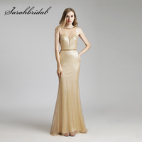 Sexy Gold Backless Evening Dresses 2018 Long Lace Sequined Sheer Neck Mermaid Prom Dress Cheap Gala Party Gowns in Stock OL449