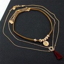 Frete grátis nova moda senhoras jóias Multi-camada colar das senhoras rodada borla temperamento menina acessórios New atacado