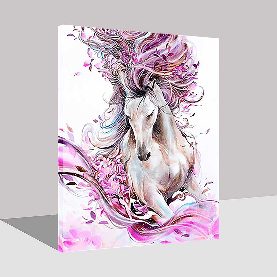 Hand Paint Home Decor Abstract DIY Painting By Numbers Horse Animal Oil Pictures Pink Flower Kits Coloring Drawing Living Room in Painting Calligraphy from Home Garden
