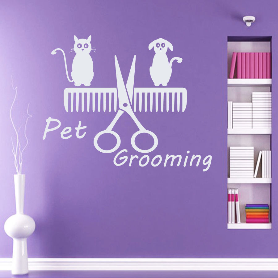 Wall Decal Pet Grooming Salon Decor Dog Cat Shop Comb Art Vinyl Sticker