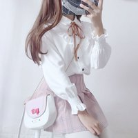 Luźne słodkie, małe świeże studentów kobiet dziewczyny Japoński koszula biała koszula z długimi rękawami