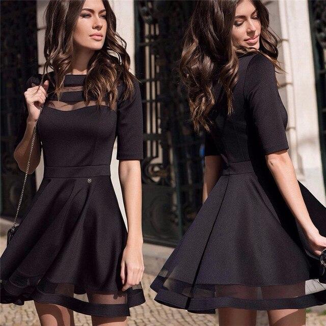 2016 Женщин Лето Осень Стиль Sexy Повседневные Платья Черный Короткие Рукава О-Образным Вырезом Старинные Платья