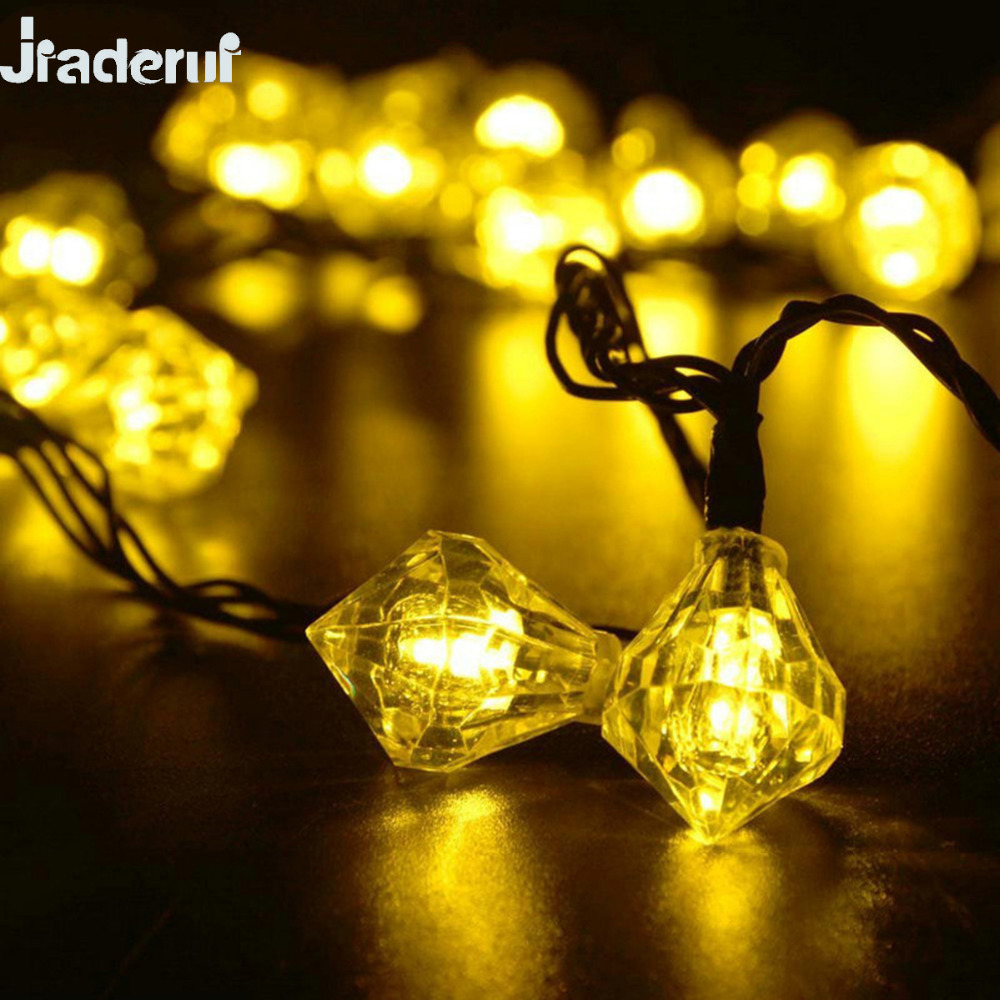 Jiaderui LED Solar Diamond String Lights Outdoor Waterproof Garland Lights 5m 20Led 6m 30Led Christmas Party for Home Decoration