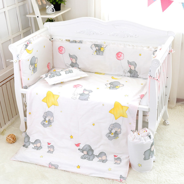 Cotton Cartoon Soft Baby Bedding Sets Gray Elephant Baby Crib bumper Include Pillow/ Bumpers/ Sheet/Quilt Cover Baby Bumpers